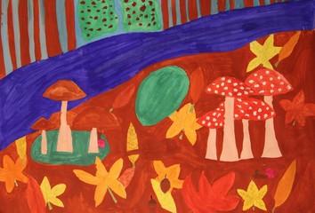 Kinderzeichnung Waldboden im Herbst