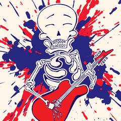 Skeleton with guitar, vector draw, paint explosion on background