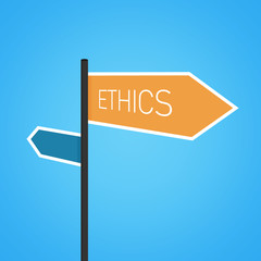 Ethics nearby, orange road sign