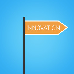 Innovation nearby, flat orange road sign