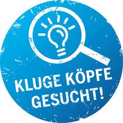 Button Stempel Kluge Köpfe gesucht