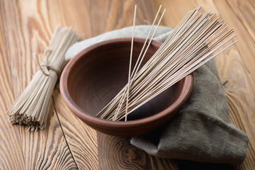 Traditional asian ingredient: noodles from buckwheat flour
