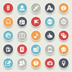 Illustration of colorful social media icons on a white backgroun