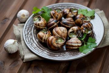 Bourguignonne snail au gratin, close-up, horizontal shot