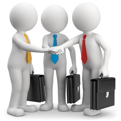 3d Männchen Teamwork bunte Krawatten