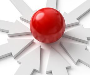 rote Kugel im Fokus