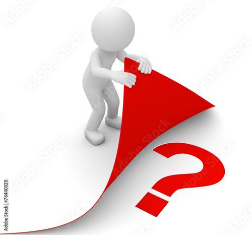 3d Männchen rotes Fragezeichen unterm Blatt - 76440828