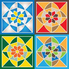 Geometry ornaments. Vector set.