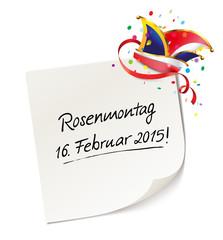 Reminder Rosenmontag 2015