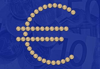 Euro sign symbol coins