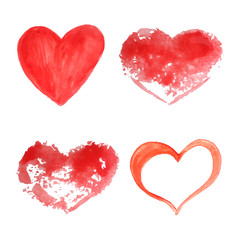Set of vector watercolor hearts