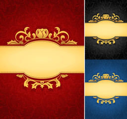 Elegant golden frame banner with ornate wallpaper background