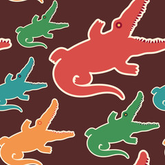 Colorful seamless pattern with crocodiles.