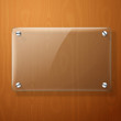 Vector glass plate for your signs, on wooden background. - 76442434
