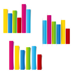 set of info graphic statistic graph flat style