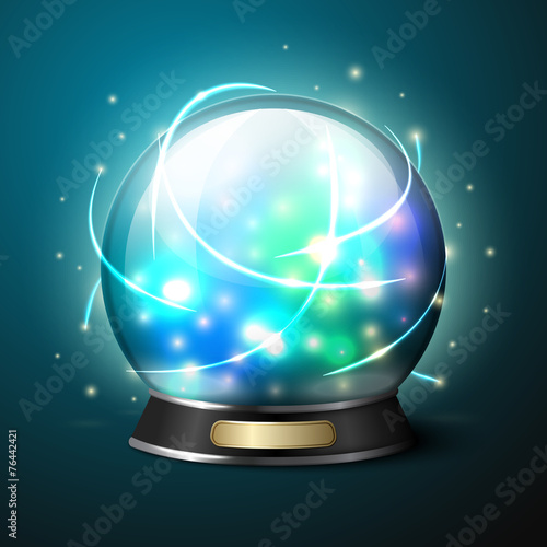 Vector bright glowing crystal ball for fortune tellers. - 76442421