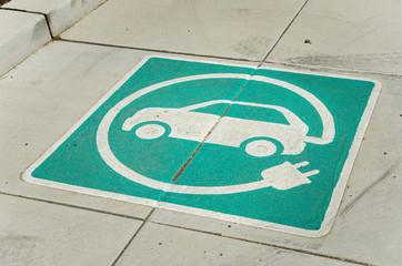 EV Charging Station Sign on the floor