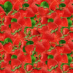Seamless texture of juicy strawberries.
