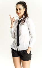 dynamic and strong girl in office clothes