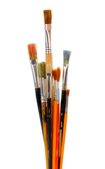different dirty paintbrushes of painter