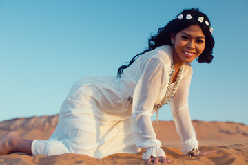 Tourist woman in Arabian Desert on vacation