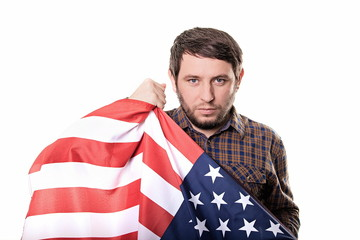 Serious man patriot country United States with a confident look
