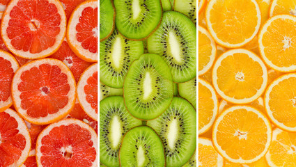 Collage of healthy fresh fruits