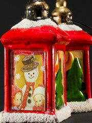 red xmas lanterns with snowman and children decoration