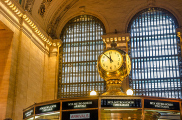 Clock in the Concourse of Grand Central Terminal, New York