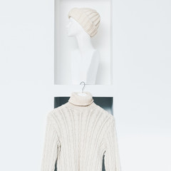 Warm Fashionable Clothing. Trend knit sweater and hat for women