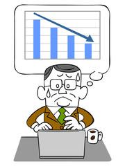 年配のビジネスマンとノートパソコンと下降するグラフ