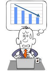 ビジネスマンとノートパソコンと下降するグラフ