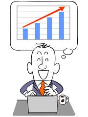 ビジネスマンとノートパソコンと上昇するグラフ