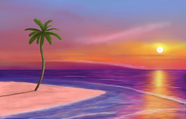 island with palm trees in the ocean at sunset