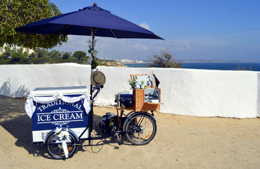 Ice cream selling from a bicycle in Portugal