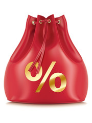 Money Bags with percentage symbols, isolated. Vector illustratio