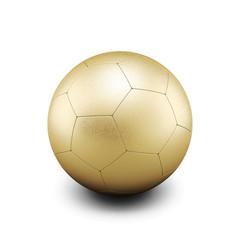 Gold soccer ball isolate on white