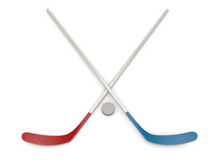 Ice Hockey puck and sticks.