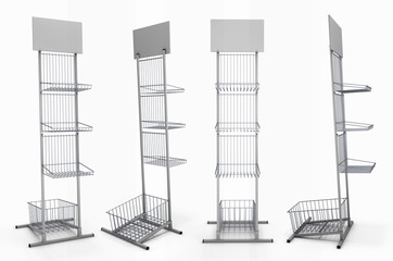 Metal rack with baskets for product exposition with blank shelf