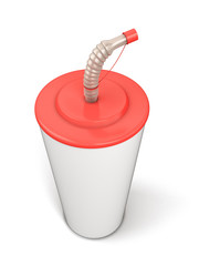 Plastic cup with a straw