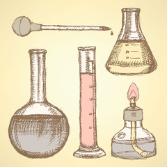 Sketch scientific equipment in vintage style