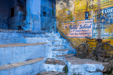 Traditional blue and yellow wall in Jodhpur