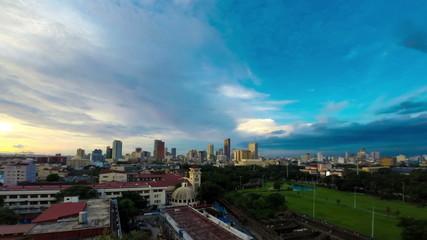 Philippines Manila skyline sunset time lapse