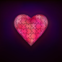 red puzzle design as love and heart symbol modern graphic