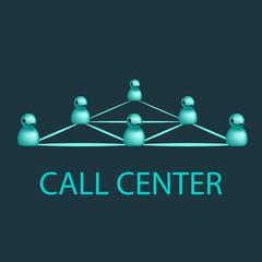 Call center emblem, support logo design