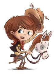 niño con disfraz de vaquero