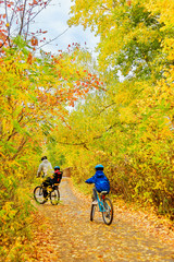 Family on bikes in autumn park, father and kids cycling