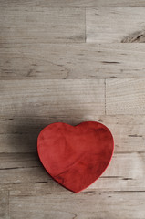 Red Heart Box on Wood - Overhead Vertical