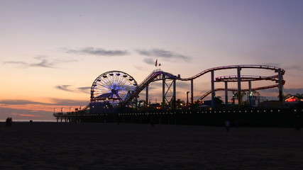 Timelapse view of the Santa Monica pier at night