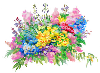 Watercolor Illustration of bouquet of wild flowers